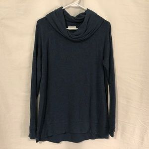 Lou Grey Medium Blouse Blue Cowl Neck 1094